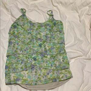 Layered ruffle floral tank top